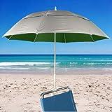 Clamp Fiberglass Beach / Rain Umbrella with Vent UPF 50 - Forest Green Inside