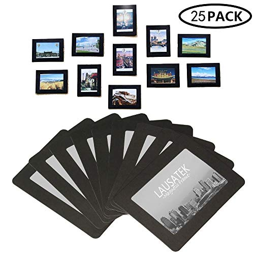 Lausatek Magnetic Picture Frame, Photo Collage for Refrigerator, Magnet Board Decor, Black, Holds 4x6, 3.5x5, 3x4, 2.5x3.5, 2X3 Inches Photos, 25 Pack