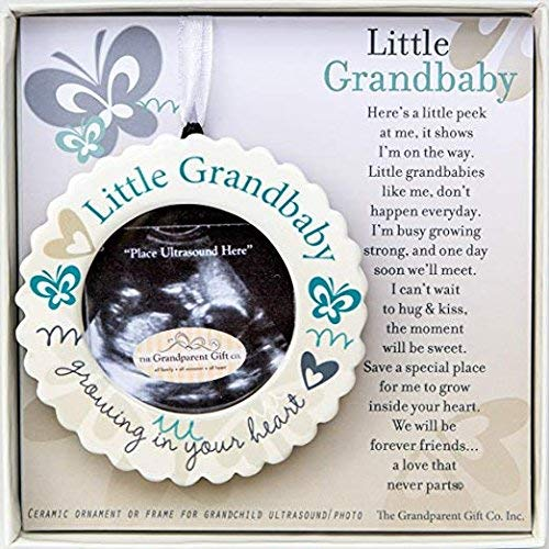 - Little Grandbaby Growing In Your Heart Ultrasound Photo Ornament and Poem (Ornament Boxed w/ Poem)