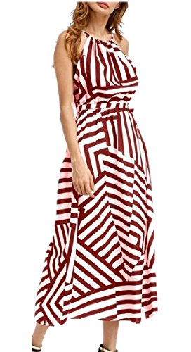 Halter Geometrico Jaycargogo Rosso Vestito Maniche Donne Vino Lunga Spiaggia Disegno Di 5a1IB1q