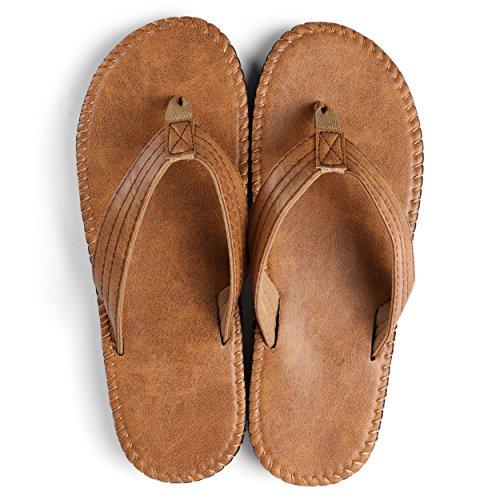 Aerusi Mens Rio Flip Flop Sandals Tan Brown KFVtZ7dU