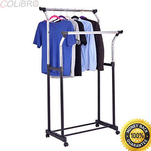 COLIBROX--Double Rod Adjustable Clothes Hanger Garment Rack Organizer Rolling Chrome New. garment rack target. rolling garment rack. rolling clothes rack walmart. rolling clothes rack amazon.