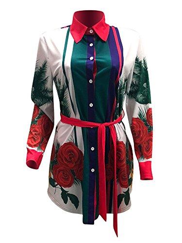 T Flower Dress Rose Casual Bohemian Mini Print Shirt Dress Playworld African Women's TatgBB