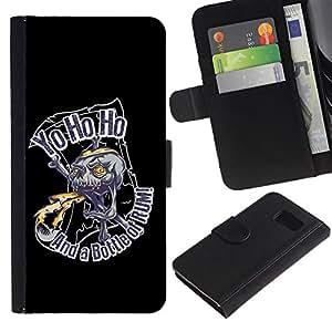 Billetera de Cuero Caso Titular de la tarjeta Carcasa Funda para Samsung Galaxy S6 SM-G920 / Yo Ho Ho Pirate Skull Rum / STRONG