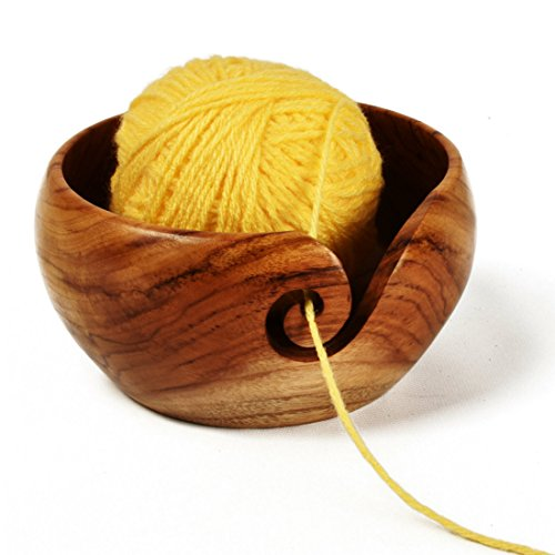 Stitch Happy Yarn Bowl Handmade Teak Wooden with Elegant Design - 6'' x 3'' by Stitch Happy