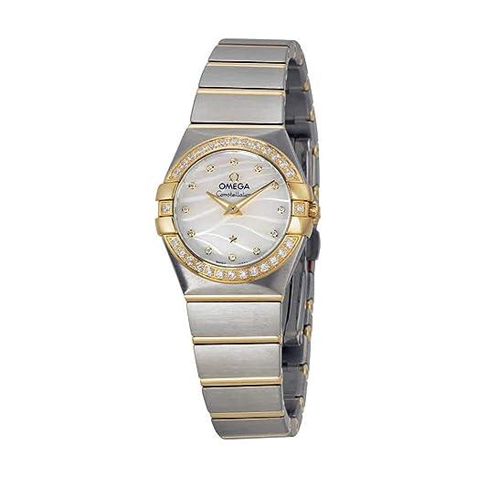 Constelación Madre de Perla Dial Acero y Amarillo Oro Diamante Damas Reloj: Amazon.es: Relojes