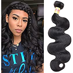 """Connie 8A Brazilian Body Wave 1 Bundle Virgin Hair Tangle-Free Unprocessed Human Hair Weave Weft Natural black(Only 1 bundle 22"""")"""