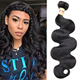 Connie 8A Brazilian Body Wave 1 Bundle Virgin Hair Tangle-Free Unprocessed Human Hair Weave Weft Natural black(Only 1 bundle 22″)