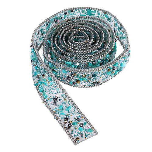 ULTNICE Rhinestone Beaded Applique Lace Trim Bling Ribbon Sewing Embellishment for Dress Sash Belt DIY Crafts (Light Green) ()