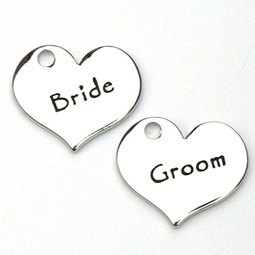 Wedding Heart Charms - Bride and