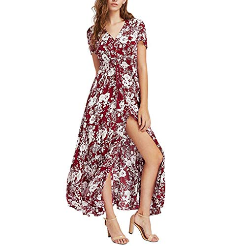 Women Short Sleeve V Neck Button Up Dresses Floral Printed High Slit Lace Up Empire Waist Pleated Dress (Red, 2XL) by Yicolo (Image #3)