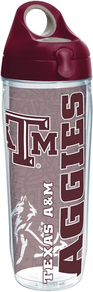 Tervis Texas A&M Aggies College Pride Tumbler with Wrap and Maroon Lid 24oz Water Bottle, Clear