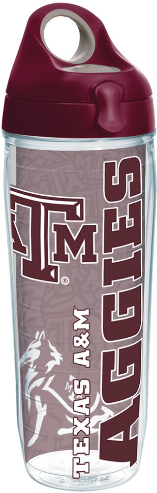 Tervis 1220312 Texas A&M Aggies College Pride Tumbler with Wrap and Maroon Lid 24oz Water Bottle, Clear