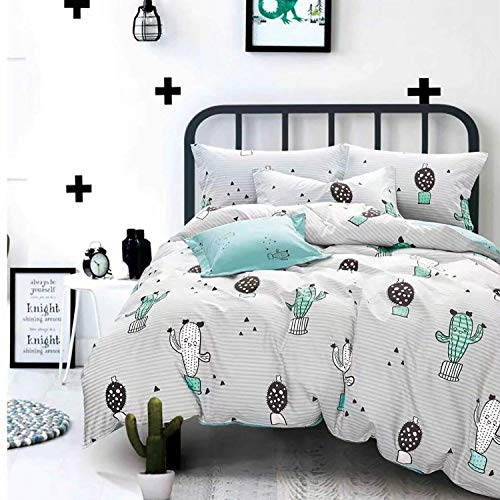 karever Cactus Duvet Cover Set Twin Kids White/Blue Cartoon Bedding Set Triangle Stripes Pattern Printed Cotton Comforter Cover Set for Boys Girls