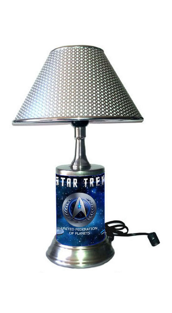 JS Star Trek Lamp with chrome shade, United Federation of Planets