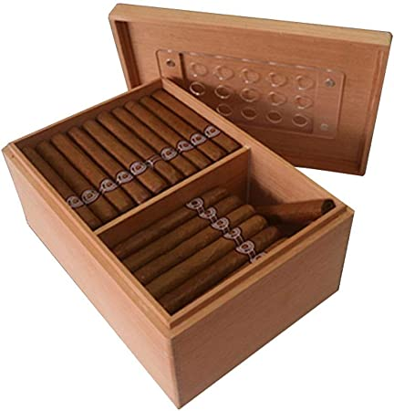 Lloow Cigarro Caja de cigarro - España Cedro cigarro humidor de Madera Caja de 75 Palos de Madera Maciza Rompieron la Caja sellada de Cigarrillos Humedad Constante portátil (Color: Marrón): Amazon.es: Hogar