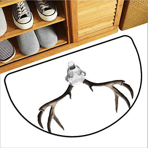 Bedroom Doormat Antlers Decor A Deer Skull Skeleton Head Bone Halloween Weathered Hunter Collection with Anti-Slip Support W30 xL18 -