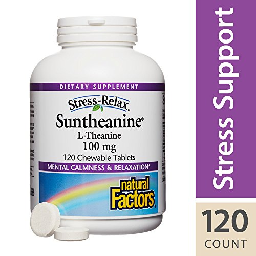 Stress-Relax by Natural Factors, Suntheanine L-Theanine 100 mg Chewable, Supports Mental Calmness and Relaxation, Tropical Fruit Flavor, 120 tablets (60 servings)