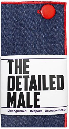 Dark Denim with Red Metal Button Men's Pocket Square by The Detailed Male by The Detailed Male (Image #4)