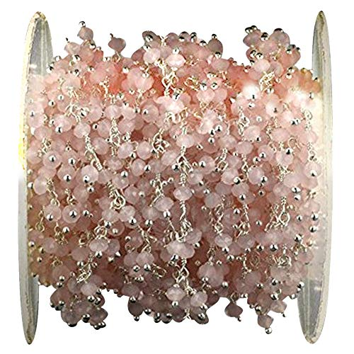 1Ft Rose Quartz Cluster Rosary Chain, 2.5-3mm Silver Plated Wire Wrapped Rosary Chain ()