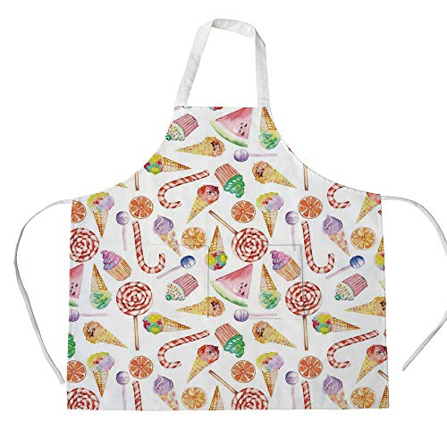iPrint Cotton Linen Apron,Two Side Pocket,Colorful,Ice Cream Candy Cakes Lollipop Clementine Fruits Cute Birthday Celebration Pattern,Multicolor,for Cooking Baking Gardening