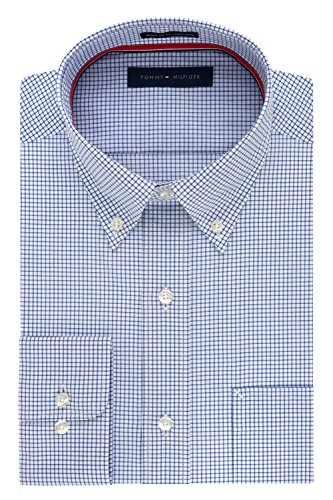 (Tommy Hilfiger Men's Non Iron Regular Fit Check Button Down Collar Dress Shirt, Empire Blue, 16.5