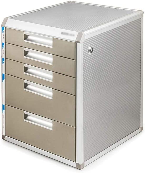 Size : 5-Larges Desktop File Cabinet with Drawer File Storage Cabinet Office Supplies Portable and Tidy Storage Box Multi-Layer Layers Lockable Data Cabinet