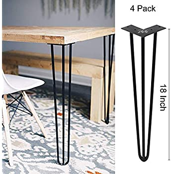 Winsoon Industrial Iron Hairpin Table Legs 18 Inch Set Of