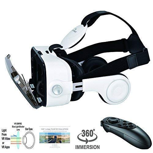 Stereo Headset for All Smartphones with Length Below 6.3 inch Such as iPhone /& Samsung HTC HP LG etc. VR Headset 3D Glasses with VR Controller Remote 120/° FOV Anti-Blue-Light Lenses