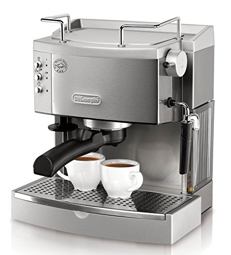 , DeLonghi BCO430 Combination Pump Espresso and 10-cup Drip Coffee Machine with Frothing Wand, Silver and Black