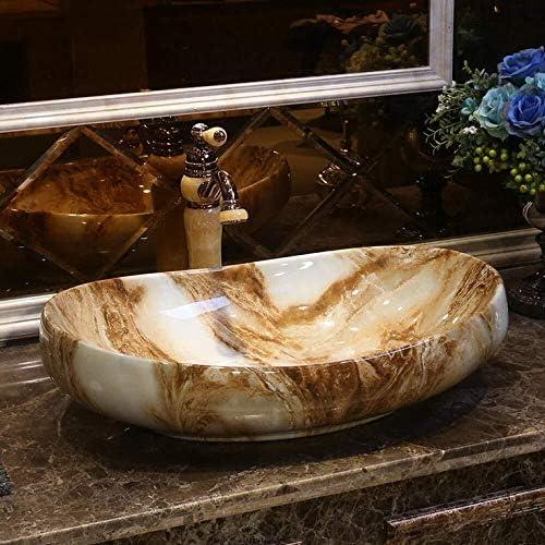 ヨーロッパスタイルの手作りカウンター盆地バスルームのシンクセラミック洗面台磁器屋外ガーデンシンクオーバル形状