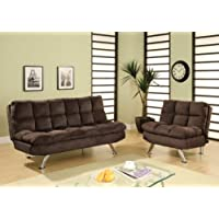 Furniture of America Britanna Padded Microfiber Sofa and Chair Set, Chocolate Brown Finish