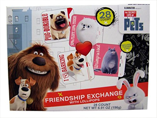 Price comparison product image Secret Life of Pets Valentine's Day Cards Exchange with Lollipops, 28 Count