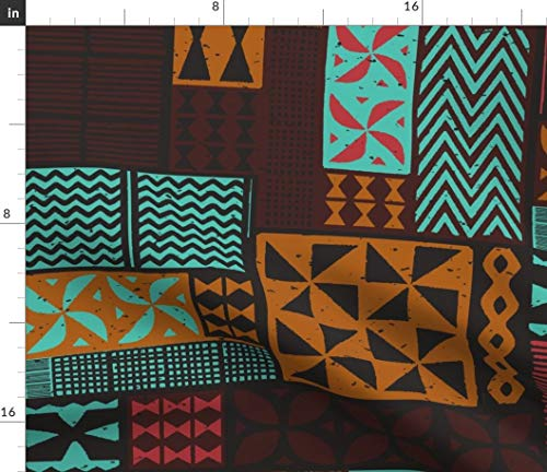 (Spoonflower Tapa Fabric - Hawaiian Tahitian Fijian Island Aloha Tiki by Muhlenkott Printed on Petal Signature Cotton Fabric by The)