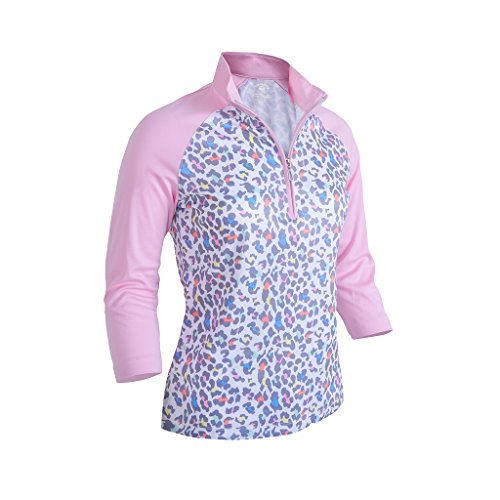 Monterey Club Ladies Dry Swing Fun Leopard Colorblock 3/4 Sleeve Polo Shirt #2352 (Rose Quartz/White, Large)