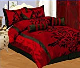 7 PC MODERN Black Burgundy Red Flock Satin COMFORTER SET / BED IN A BAG - KING SIZE BEDDING