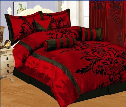 7 PC MODERN Black Burgundy Red Flock Satin COMFORTER SET / B