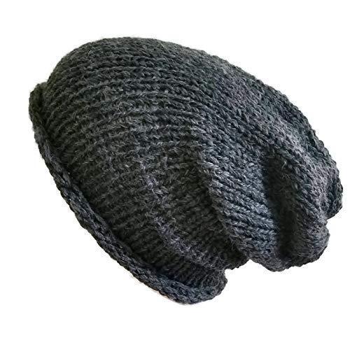 70468db158d Amazon.com  Mens Grey Beanie Hat 100% Alpaca Slouchy Lightweight  Hypoallergenic  Handmade