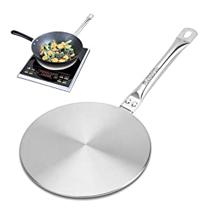 RAINBEAN 7.5Inch Heat Diffuser Simmer Ring Plate, Stainless Steel with Stainless Handle, Induction Adapter Plate for Gas Stove Glass Cooktop Converter, Flame Guard Induction Hob Pans