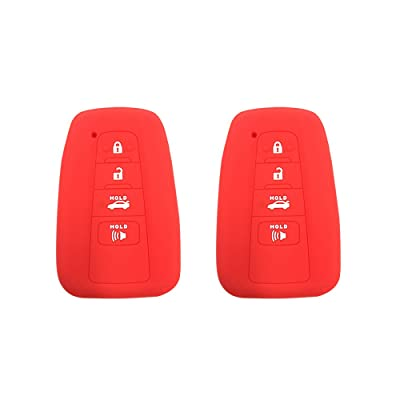 BAR Autotech Remote Key Silicone Rubber Keyless Entry Shell Case Fob and Key Skin Cover 4 Buttons Fit For 2020 Toyota Camry C-HR Prius (Red): Automotive