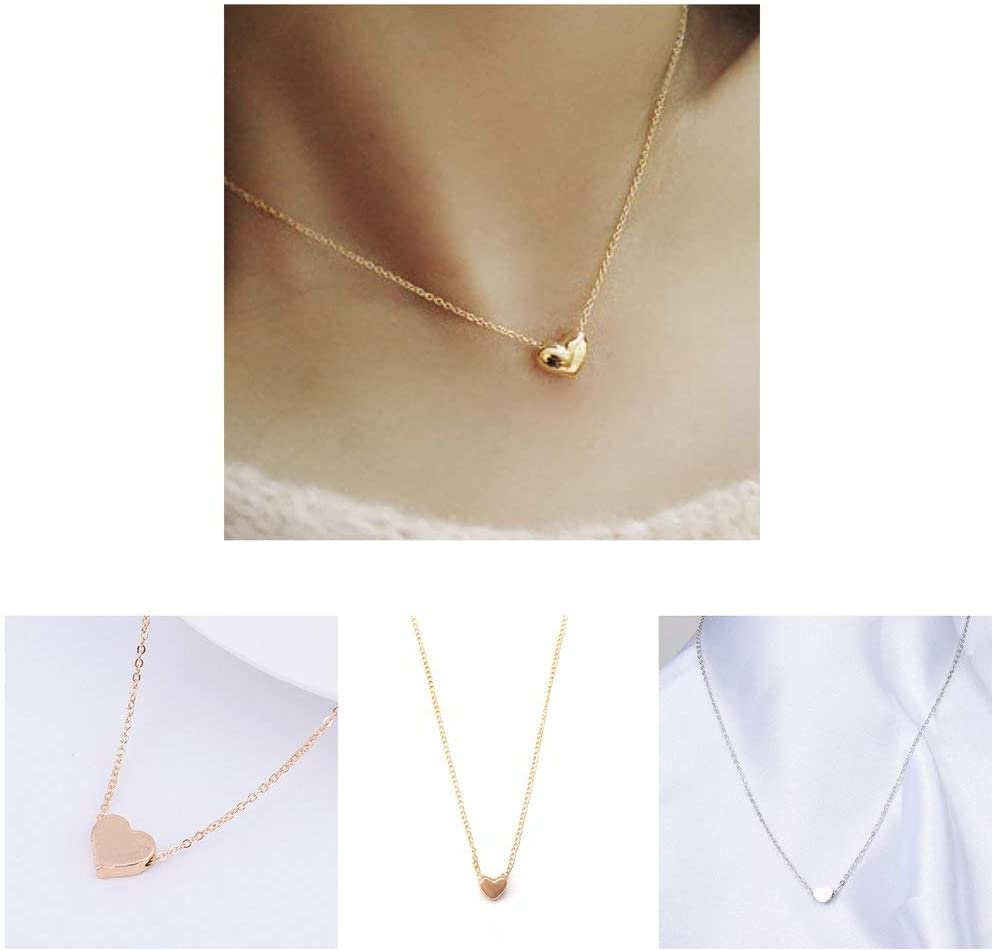 Yiyaqeanca Gold Chain Choker Necklace Heart Shape Pendent Necklace Long Chain Delicate Fashion Choker Necklace Jewelry Gift for Women