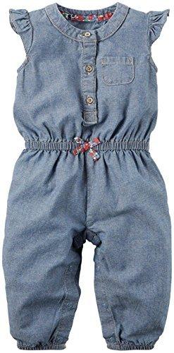 Carter's Baby Girls' Chambray Romper 118g291, Denim 9 Months ()