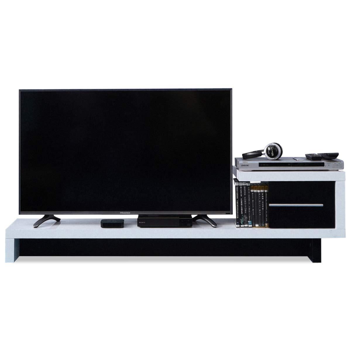 JKプラン テレビ台 ローボード テレビボード フロアータイプ テレビラック デザイン テレビ台 40型 対応 配線すっきり 自在 TV台 ホワイト 白 TSFTV0001WH B07GBTDL2T ホワイト