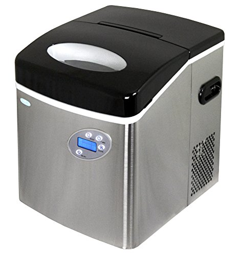 NewAir Portable Ice Maker 50 lb. Daily, Countertop Design, 3 Size Bullet Shaped Ice, AI-215SS, Stainless Steel