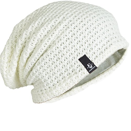 - FORBUSITE Mens Slouchy Long Oversized Beanie Knit Cap For Summer Winter (Off White)