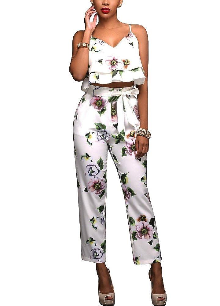 a92b2f970c1 Romacci Women Summer Two Piece Set Floral Printed Spaghetti Strap Double  Ruffles Crop Tops   Long Pants Sets  Amazon.co.uk  Clothing