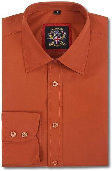Janeo British Apparel Camisas Hombre Lisa Ropa Formal para Oficina, Negocios, Boda y Tiempo Libre.Estilo Manga Larga en 10 Colores Luminosos, Talla S - 3XL para Hombre Grande. Ajuste Regular Entallado: Amazon.es: