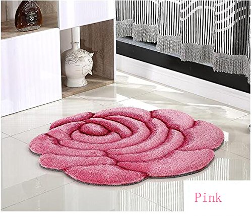 Rose Rug Living Room Carpet 3D Flower Doormat Bedroom Decorate (70cmX70cm, Pink) Carpet Rose