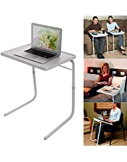 McMoLa Foldable Assembled Table TV Tray Portable Folding Snack Table - Adjustable Sofa Side Table, Bed Laptop Desk Table for Breakfast Home Use White