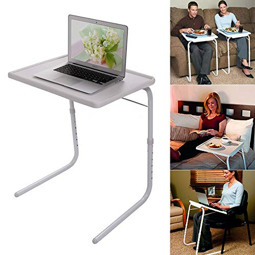 Folding Table Coffee Table Sofa Side Table Tv Tray Snack Table Assembled Bed Table Folding Laptop Table Portable Breakfast Tray Desk for Home Bedroom Dorm Room(White)